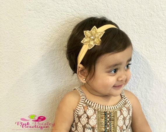 Baby Headband Set - Gold & Silver Headband - Infant Headbands - Baby Girl Headbands - Baby Hair Accessories -Newborn Headbands Baby HairBows