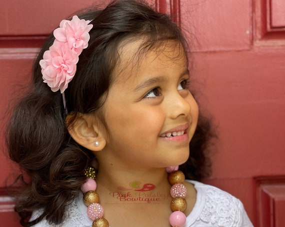Pink & Gold  Necklace, Bubblegum Necklace and headband set , Girls/Toddlers Chunky , Multi-Color Girls Necklace,