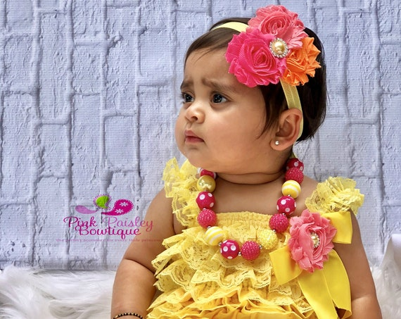 Baby Girl 1st Birthday Outfit - Petti Lace Romper- Ruffle Rompers - Baby Romper - You are my Sunshine Birthday Outfit - Yellow Petti Rompers