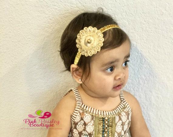 Gold Baby Headband - Gold Silver Wedding dress - 8 colors Desi Indian Bows - Gold Vintage Headbands - Baby Girl Headbands- Baby Headbands