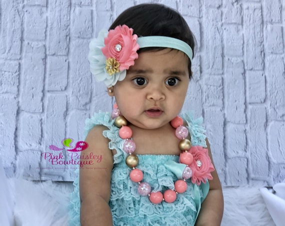 Aqua, Coral & Gold Baby Girl Dress Baby Girl Clothes - Cake Smash Outfit - Baby Girl 1st Birthday Outfit-1st Birthday Photo Outfit