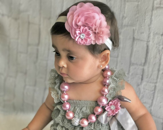 Cake Smash Outfit - Baby Girl 1st Birthday Outfit - Gray & vintage Pink Birthday party -Baby Girl Rompers - Cotton Candy Birthday