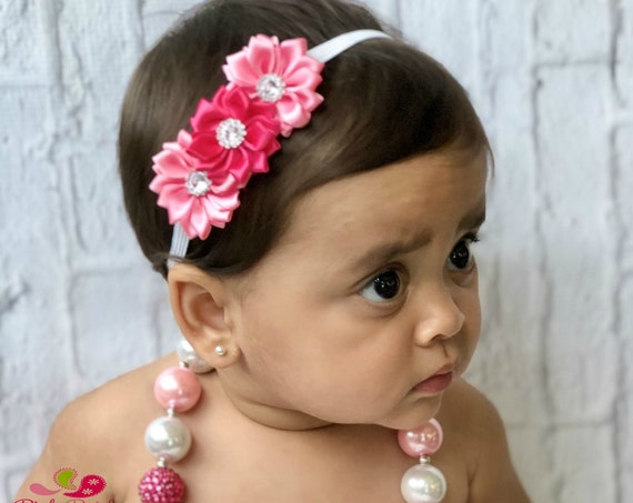 girls necklace pink white girls chunky bubblegum necklace Easter photo prop, baby girl necklace, baby jewelry, Baby chunky necklace, jewelry