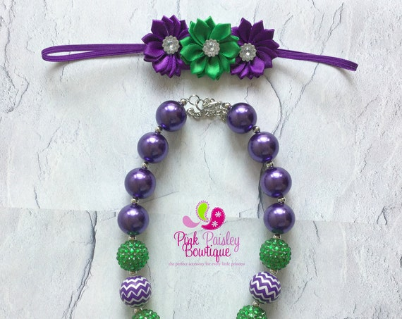 Toddler Chunky Necklace, Girls Bubblegum Necklace, Green & Purple necklace,Girls Bead Necklace, Mermaid Necklace, Under the Sea Birthday