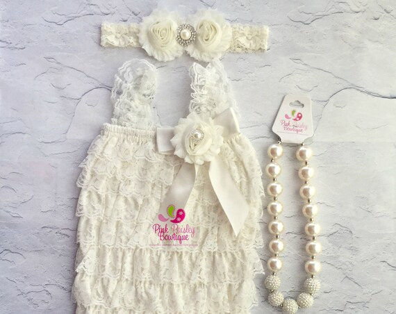 Baptism Outfit - 3, 4 or 5 pc SET- Ivory Baby Outfit - Baby Girl Rompers - Christening Dress - Cream Baptism Dress - Baptism Baby Outfit