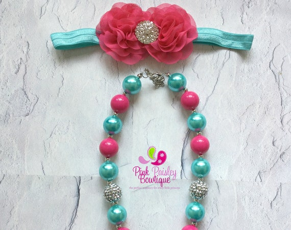 Bubble Gum Necklace, Baby Girl Chunky Necklace, Aqua Pink Baby Necklace, Photo Prop Necklace Princess Birthday party, Cake smash Photo prop