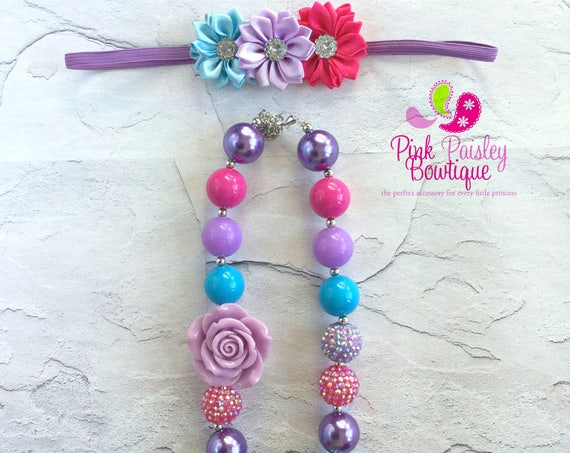 Baby Chunky Necklace, Little Girl Bubblegum Necklace, Children Necklace, Girl Chunky Necklace, Toddler Necklace Headband Set, Girls necklace
