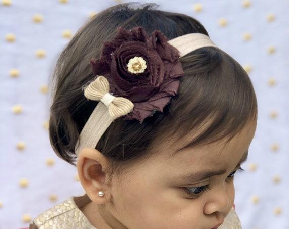 Brown Baby Headband. Fall Hair Bows. Baby Shower Gift. Brown Newborn Hair Bows. Baby hair accessories Baby Hairbows, Baby Bows Baby Girl Bow