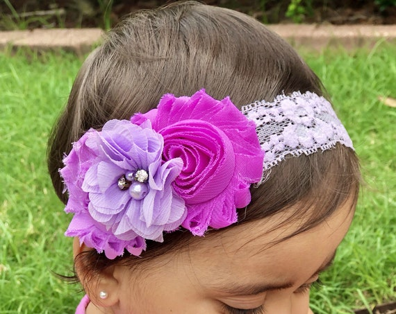 Purple Headband Newborn headband. baby hair accessories. baby headband. purple/lavender baby hair bow. baby girl headbands..infant headbands
