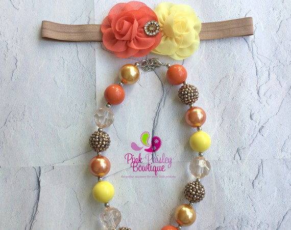 Fall color necklace and headband set Baby Headband & Necklace set, Bubblegum Necklace set