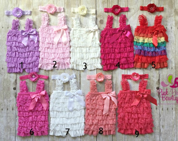Baby Girl lace romper and headband 2 pc SET, Newborn Baby girl dress , Easter Dress, Easter Outfit, Baby romper, Newborn Coming Home Outfit