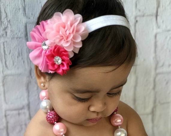 Pink and White necklace headband set, Valentine's headband, Pink birthday, Baby Girl chunky necklace, cake smash photo prop, Pink & hot pink