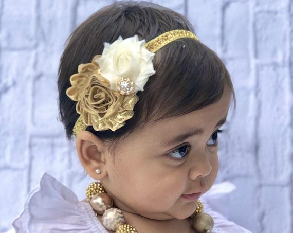 Girls Chunky Necklace &headband set , Girls Bubblegum Bead Necklace, Gold Chunky kids Necklace, Girls Gold Necklace,