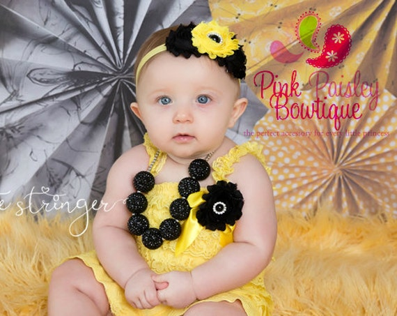 Baby Girl 1st Birthday Outfit - Baby Girl Clothes -Baby Romper - Bumble Bee Birthday Outfit - Yellow Black Birthday - Bee Birthday Party