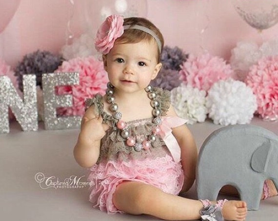 Pink & Gray 1st Birthday, Pink and Gray birthday outfit, 1st Birthday Cake Smash Outfit, Baby Girl Birthday Picture, Elephant Birthday Party