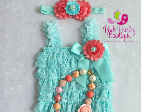 Lace Romper - Aqua & Coral 1st Birthday Photo Outfit - Baby Girl Clothes - Ruffle Romper - 1st Birthday Outfit - Cake Smash Outfit - Picture
