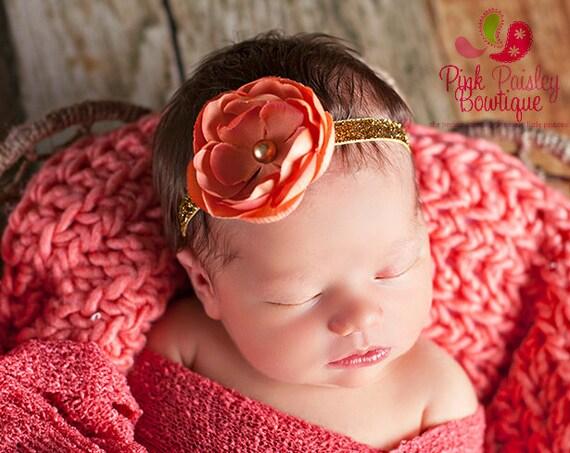 Rust Headband. Baby headband. Fall Headband.  Newborn Hair Bows. Flower Baby hair accessories Baby Hairbows, Baby Bows Baby Girl Bows