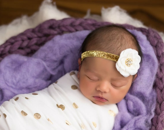 White and Gold Baby Headband - 8 Colors - Pink and Gold 1st Birthday Baby Hair bow Pink & Gold Bows Gold Bows Baby bows - Hair Accessories