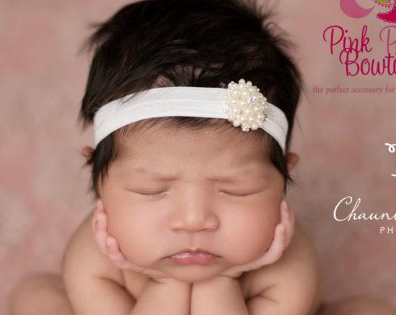 Baby headband, newborn headband, baby girl headband, Baptism headband, white baby headband, Hairbow headband, christening, baptism