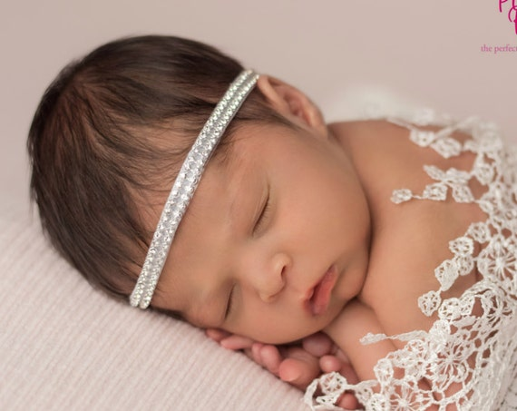 Rhinestone Baby Headband, Princess Sparkle Headband, 1st Birthday Headband, Newborn Photo Prop, Baby Bows, Baby Hair Accessories Hair Bows