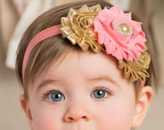 Coral and Gold Baby Girl's First Birthday Outfit, Peach Gold Cake Smash Outfit, Baby Girl 1st Birthday Pictures, Gold Glitter Birthday Party
