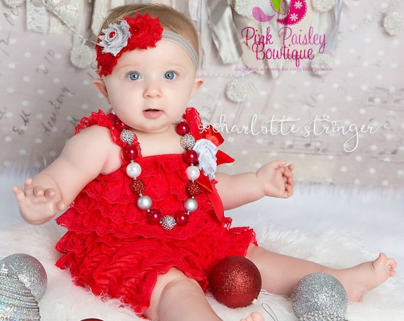 Cake Smash Outfit - Baby Girl 1st Birthday Outfit - Red & Silver Christmas Outfit - Christmas Birthday - 6 Months Photo Outfit Girls