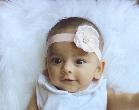 Baby Girl Bows, Soft Pink Baby Headband, Newborn Photo Shoot, Baby Girl Headband, Baby Hair Accessories Baby Girl Hair Bows Newborn Headband