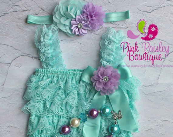 Baby Girl Clothes - Cake Smash Outfit - Baby Girl 1st Birthday Outfit - Aqua & Purple Baby Girl Dress - 1st Birthday Photo Outfit