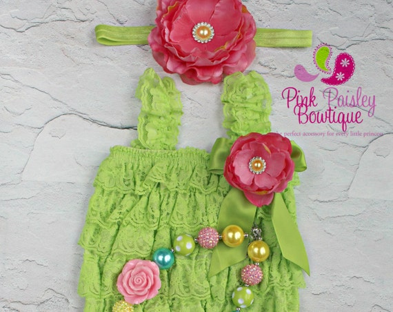 Cake Smash Outfit - 3,4 or 5 pc SET- Baby Girl 1st Birthday Outfit- cake smash Outfit Lime & Pink Romper -Baby Girl Rompers - Fairy Birthday