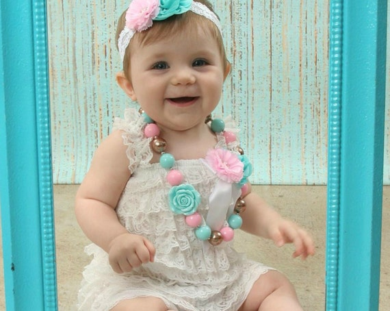 Cake Smash Outfit - 3 or 4 pc SET- Baby Girl 1st Birthday Outfit - Aqua & White Petti Romper -Christening Outfit- Cotton Candy Birthday