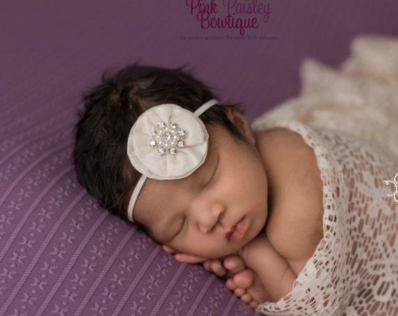 Baptism headband, Baby headband, Christening headband, Flower girl headband, Ivory baby headband, Hairbow headband, baptism hair bows