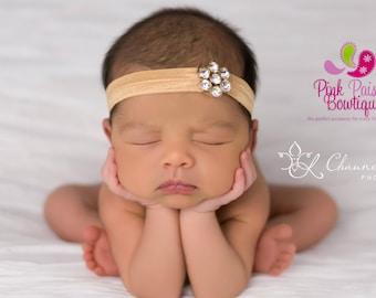 Gold Baby Headband - Baby Hair Accessories - Newborn Headband - Baby Girl Headbands - Infant Headband - Gold baby hairbows - Gold Headband