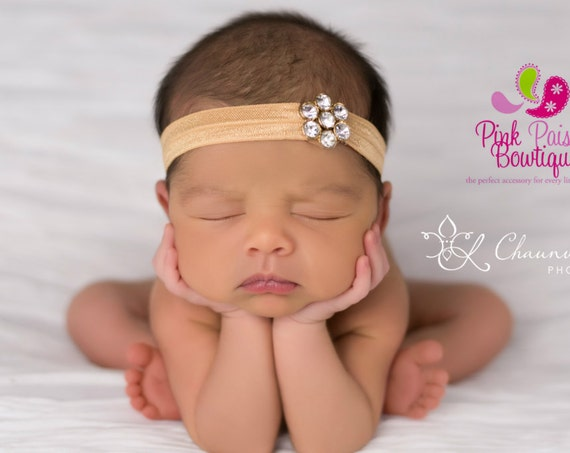 Gold Baby Headband - Baby Hair Accessories - Newborn Headband - Baby Girl Headbands - Infant Headband - Gold baby hairbows - Gold Headband