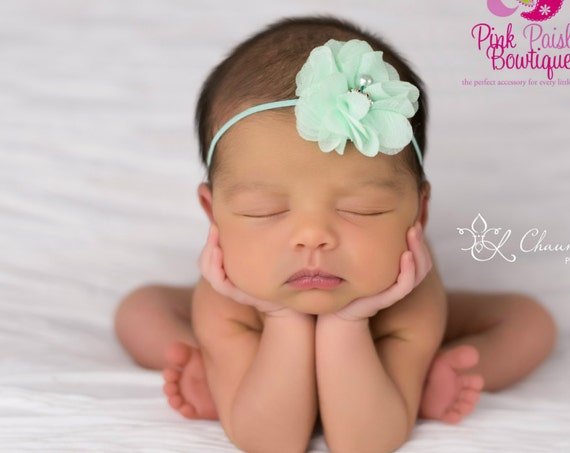 Baby Headband - You Pick 1 Infant Headband - Mint Hairbows - Baby Girl Headbands - Baby Hair bows - headband baby - Baby bows-Alligator Clip