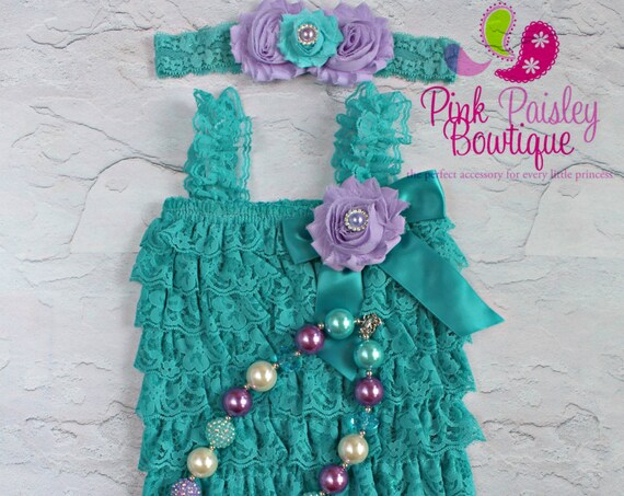 Cake Smash Outfit - Baby Girl 1st Birthday Outfit - Turquois  & Lavender  Baby Girl Dress - 1st Birthday Photo Outfit