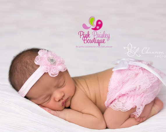 Baby Lace Bloomer Set- Newborn Headband and Bloomers- Newborn Photo Outfit- Lace Ruffle Cover - Cake smash outfit- Ruffle Baby Diaper cover
