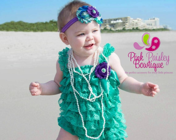 Green Baby girl romper and baby headband SET, Baby girl 1st birthday outfit, Under the Sea Birthday, Little mermaid Cake Smash Outfit