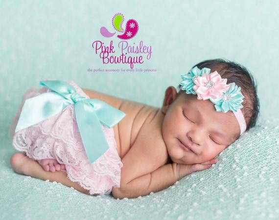 Newborn Headband and Bloomers- Pink ruffle diaper cover - Cake smash outfit- Ruffle - Aqua Diaper cover-Newborn Photo Outfit- Baby Bloomers