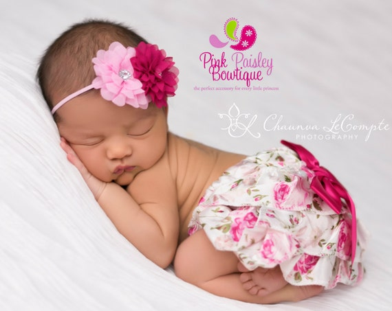 Baby Newborn Shabby Floral Outfit - Baby Bloomers - Newborn Photo Outfit- Shabby Floral Baby Girl Birthday Cake Smash Baby Girl 1st Birthday