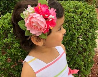 67469a1d5 Baby headbands, Baby girl headband,floral nylon headband, flower crown  headband, nylon headbands,Newborn headband, Infant Headband,Hair bows