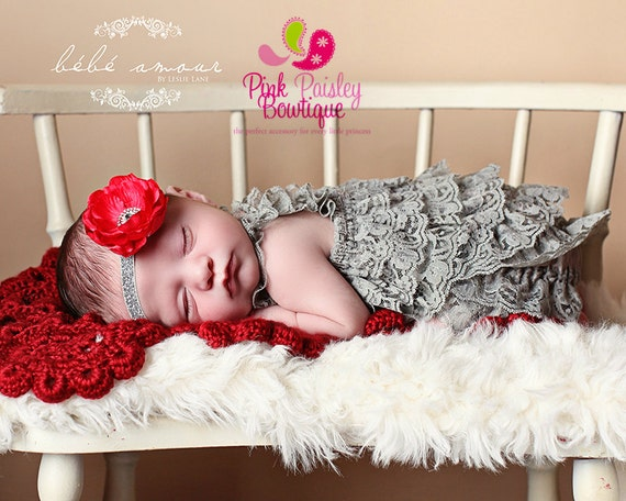 Gray Baby Outfit - Newborn Baby Dress - Baby Outfit  - Newborn Coming home outfit - Gray Red dress - Baby Dress - Hospital Photo Outfit