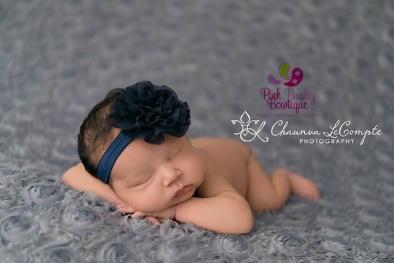 Baby Headband - You pick 1 Chiffon Headband - Navy Infant Headbands - Baby Girl Headbands - Baby Hair Accessories - Newborn Headbands