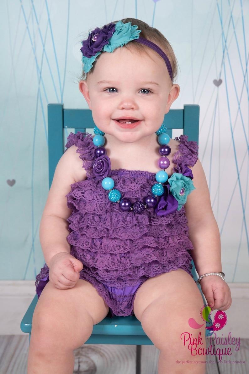 e8f17e6a9beb Purple romper and headband Baby girl 1st birthday outfit