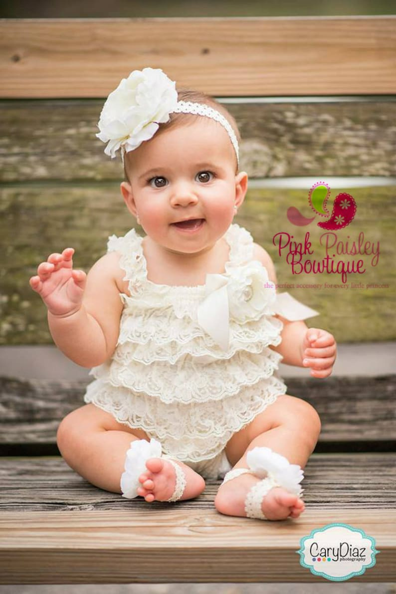 a0a583c0d80d Baptism Outfit 4pc SET Ivory Petti Romper Baby Girl