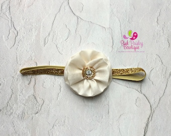 Gold Baby Headband - Pink and Gold 1st Birthday - Baby Hairbow - Pink & Gold Headband - Gold Bows - headband baby -Baby bows - Holiday Bows