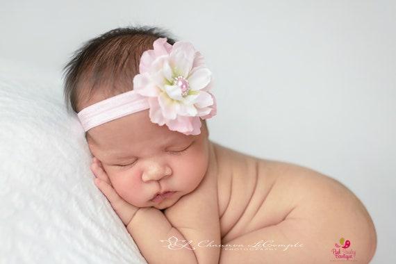 Baby Headbands -  Pink Flower Headband - Infant Headbands - Baby Girl Headbands - Baby Hair Accessories - Toddler Headbands