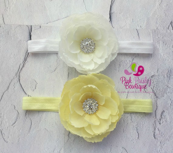 YOU PICK 1  Baby Headband, White or Yellow  Baby Headband, Infant Headband, Newborn Headband, Infant bows, Baby Hairbows