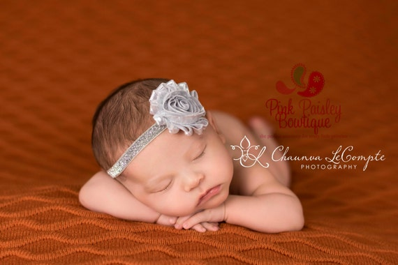Silver Baby Headband - Gold Headband - Silver Baby Hairbow - Infant Headband - Birthday Headband -headband baby -Baby bows - Sparkle Bow