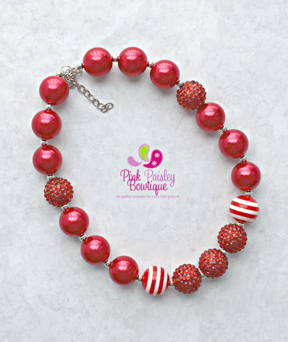 Baby Girl Chunky Necklace Valentines Day Bubble Gum Necklace, Photo Prop Necklace Cake smash, V-Day photo prop, red white necklace