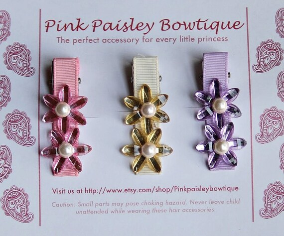 Baby Hairclips - Infant Hairclips - Baby Hairbows - Toddler Hair clips - Baby Bows - Baby Hair Accessories - Set of Three Flower Clips
